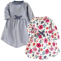 Touched by Nature Girls, Toddler, and Baby Organic Cotton Long-Sleeve Dresses, Garden Floral, 6- ...