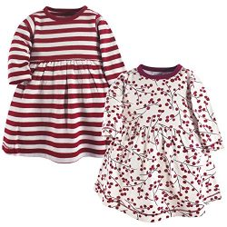 Touched by Nature Girls, Toddler, and Baby Organic Cotton Long-Sleeve Dresses, Berry Branch, 12- ...