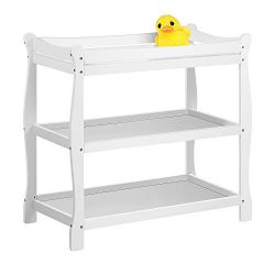 Kealive Changing Table, Baby Changing Table Wood with 2 Fixed Shelves Storage, Diaper Changing T ...