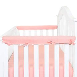 Designthology 2-Pack Padded Baby Crib Rail Cover Protector Safe Teething Guard Wrap for Narrow S ...
