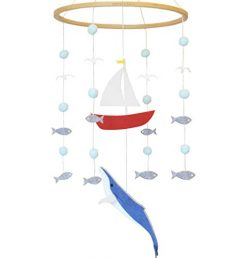 Sorrel + Fern Baby Crib Mobile Whale and Sailboat Ocean -Baby Shower Gift Nursery Decoration