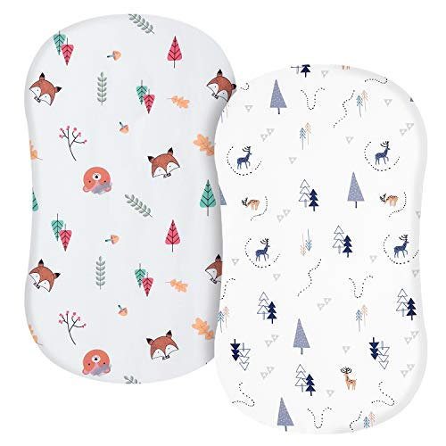 """TILLYOU Microfiber Woodland Bassinet Sheets, 32""""x16"""" Flexible for Different Cradle a ..."""