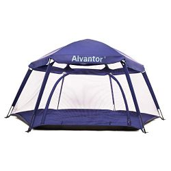 Alvantor Playpen Play Yard Space Canopy Fence Pin 6 Panel Pop Up Foldable and Portable Lightweig ...