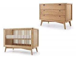 Simply Nursery Mid-Century Baby Retro Convertible Crib and Chest Set