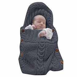 XMWEALTHY Newborn Baby Wrap Swaddle Blanket Knit Sleeping Bag Receiving Blankets Stroller Wrap f ...