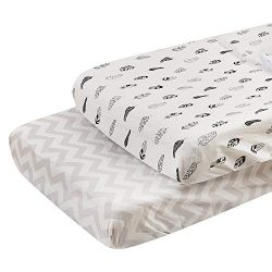 ALVABABY 2Pack Changing Pad Cover,100% Organic Cotton,Large 32″ X 16″,Soft and Ligh ...