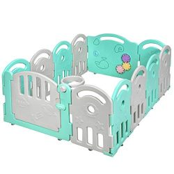 Costzon Baby Playpen, 12-Panel Kids Safety Yard Activity Center Playard with Safety Lock & E ...