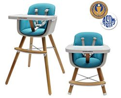 Baby to Toddler Wooden Convertible Highchair – Safe and Stylish, 5-Point Safety Harness, E ...