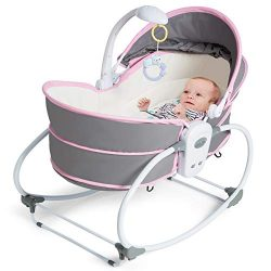 Costzon 5 in 1 Baby Cradle Swing, Portable Newborn Gliding Bassinet with Detachable Canopy Music ...