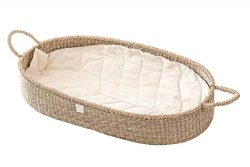 Baby Changing Basket with Luxury & Unique Soft Linen Diaper Changing Pad. Handwoven Seagrass ...