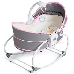 HONEY JOY 5-in-1 Baby Rocking Bassinet, Portable Infant Travel Bed with Music and Toys, Adjustab ...
