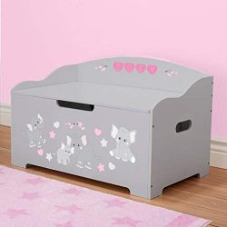 DIBSIES Personalization Station Personalized Modern Expressions Toy Box (Gray with Pink Elephants)