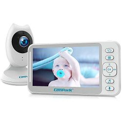 Campark Baby Monitor 4.3 inch Split Screen Video Baby Monitor with Camera and Audio, Smart Night ...