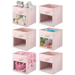 mDesign Soft Fabric Closet Storage Organizer Cube Bin Box with Easy-View Front Window, Handle &# ...