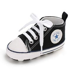 Baby Girls Boys Canvas Shoes Soft Sole Toddler First Walker Infant High-Top Ankle Sneakers Newbo ...