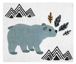 Bear Mountain Watercolor Accent Floor Rug or Bath Mat by Sweet Jojo Designs – Slate Blue,  ...