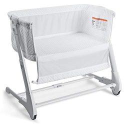 BABY JOY Baby Bedside Crib, 2 in 1 Height & Angle Adjustable Sleeper Bed Side Bassinet w/Det ...
