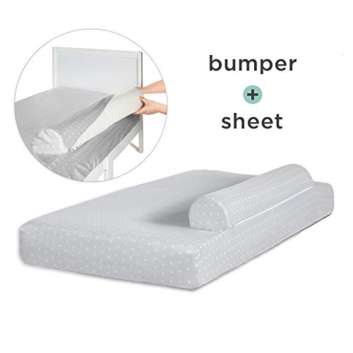Milliard Bed Bumper (with Attached Sheet) for Toddler Bed, Foam Safety Rail Guard with Washable  ...