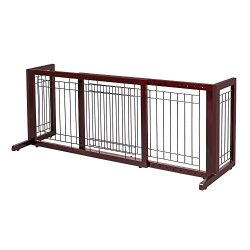 Bonnlo Freestanding Pet Gate Adjustable from 40″to 71″ Sturdy Solid Wood Dog Gate fo ...