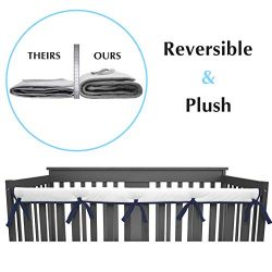American Baby Company 1 Pack Heavenly Soft Narrow Reversible Crib Rail Cover for Long Rail, Navy ...