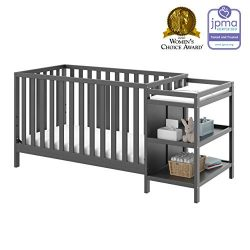 Storkcraft Pacific 4-in-1 Convertible Crib and Changer, Gray Easily Converts to Toddler Bed, Day ...