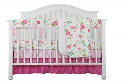4PCS Crib Rail Guard Set Boho Floral Nursery Baby Bedding Ruffled Crib Skirt Crib Rail Cover Set ...
