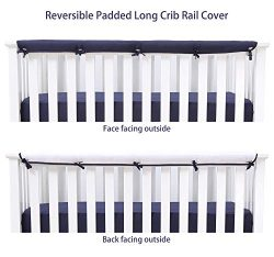 Belsden Soft Reversible Long Crib Rail Cover Made of Brushed Microfiber Fabric, Baby Teething Gu ...