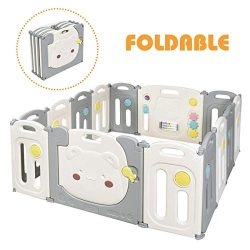 Costzon Baby Playpen, 14 Panel Foldable Kids Safety Play Fence with Storage Bag, Door with Safet ...