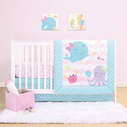 The Peanutshell Sea Sweeties Crib Bedding Set for Baby Girls   3 Piece Nursery Set   Baby Quilt, ...