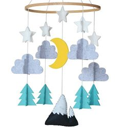 Sorrel + Fern Baby Crib Mobile- Starry Woodland Night Nursery Decoration | Crib Mobile for Boys  ...