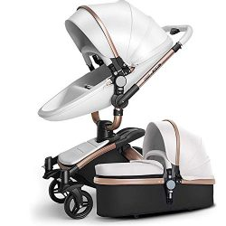 SpringBuds Baby Stroller Bassinet Carriage Combo 360 Rotation 2-in-1 Shock-Resistant High Landsc ...