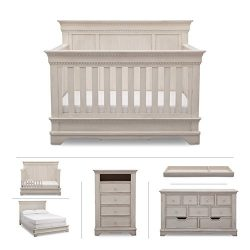 Delta Children Baby Nursery Furniture Set in White Antique – Convertible Crib, Dresser, Ch ...