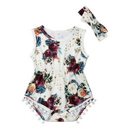 Newborn Kids Baby Girls Clothes Floral Jumpsuit Romper Playsuit + Headband Outfits (6-12 Months, ...