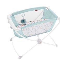Fisher-Price Rock with Me Bassinet – Pacific Pebble, Portable Rocking Baby Bassinet