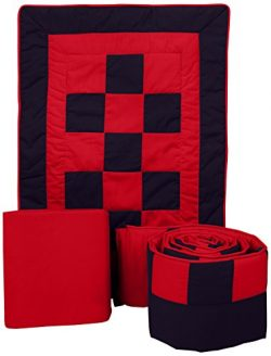 Baby Doll Bedding 3 Piece Patchwork Perfection Cradle Bedding Set, Navy/Red