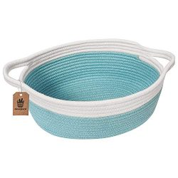 Goodpick Small Woven Basket | Cute Blue Rope Basket | Baby Cotton Basket | Nursery Room Storage  ...