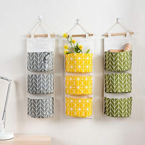 melupa Hanging Storage Bag, Wall Door Closet Nursery Storage Bag Over The Door Organizer with 3  ...