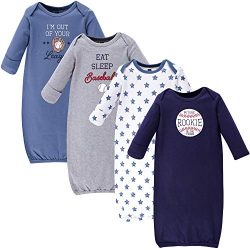 Hudson Baby Unisex Baby Cotton Gowns, Baseball, 0-6 Months