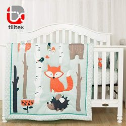 Tailored Baby- 4 Piece Woodland Nursery Bedding Set, Gender Neutral Nursery Baby Crib Bedding Set