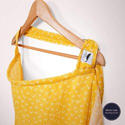 Cotton Muslin Nursing Cover – Large Breastfeeding Cover with Built-in Burp Cloth & Poc ...