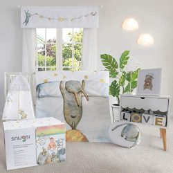 Snugsi 7 Piece Baby Nursery Crib Bedding Set with Gift Box – Hand Drawn for Girl & Boy ...