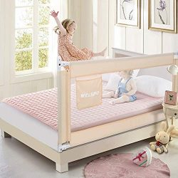 70 Inches Bed Rail for Toddlers Fold Down Safety Baby Bed Guard Swing Down Bedrail for Convertib ...