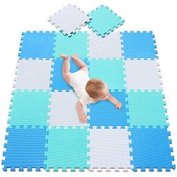 meiqicool Playspot Foam Play Mat for Baby, Grey/Cream,White,Blue and Green 55.9″ X 44.9 ...