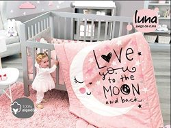 DreamPartyWorld Moon and Stars Baby Girls Crib Bedding Nursery Set Gift Bedding Pink 100% Cotton