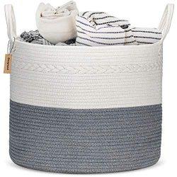 COSYLAND XXL Cotton Rope Basket 17″x 17″x15″ Baby Laundry Woven Storage Hamper ...