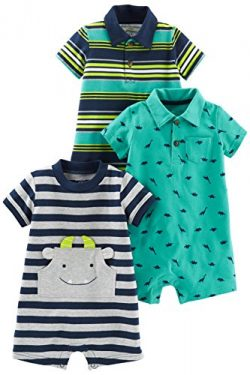 Simple Joys by Carter's Baby Boys' 3-Pack Rompers, Blue Stripe/Turquoise Dino/Grey N ...