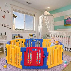 Velraptor 8 Panel Safety Play Yard for Kids Toddler Baby Boys Girls, Activity Centre Playpen