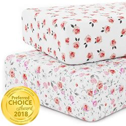 Crib Sheet Set for Girls – Universal Fitted Crib Sheets for Standard Baby or Toddler Mattr ...