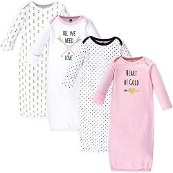 Hudson Baby Unisex Baby Cotton Gowns, Heart, 0-6 Months