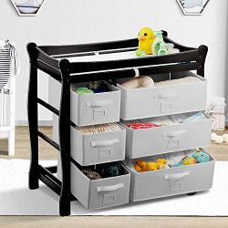 Kealive Baby Changing Table, Infant Diaper Changing Table Wood with 6 Baskets, Dresser Nursery S ...